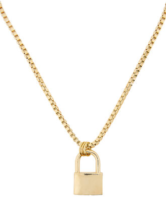 Padlock Long Necklace, GOLD, hi-res