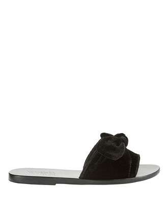 Taygete Black Velvet Bow Slides, BLACK, hi-res