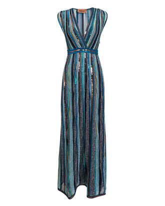 Cross Front Blue Sequin Dress, BLUE, hi-res