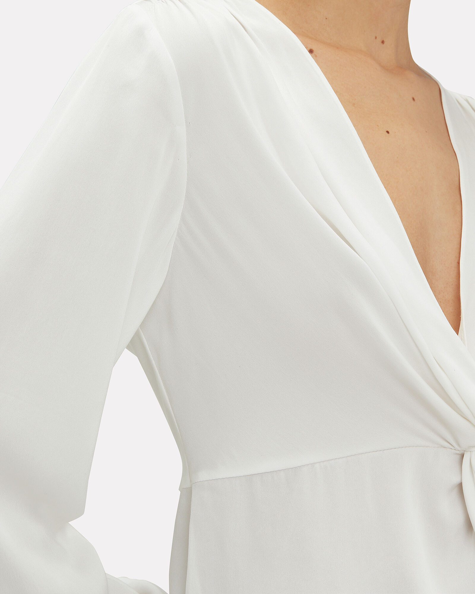 Dawn Silk Knot Top, IVORY, hi-res