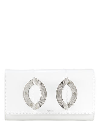 La Croisiere Crystal Handle White Clutch, WHITE, hi-res