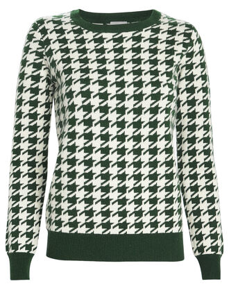 Happy Houndstooth Wool-Cashmere Sweater, GREEN, hi-res