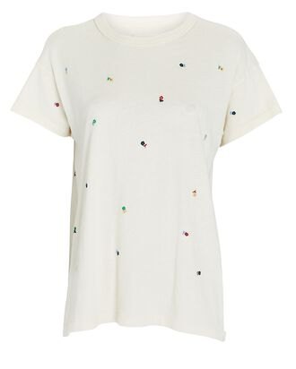 The Boxy Embroidered Cotton T-Shirt, WHITE, hi-res