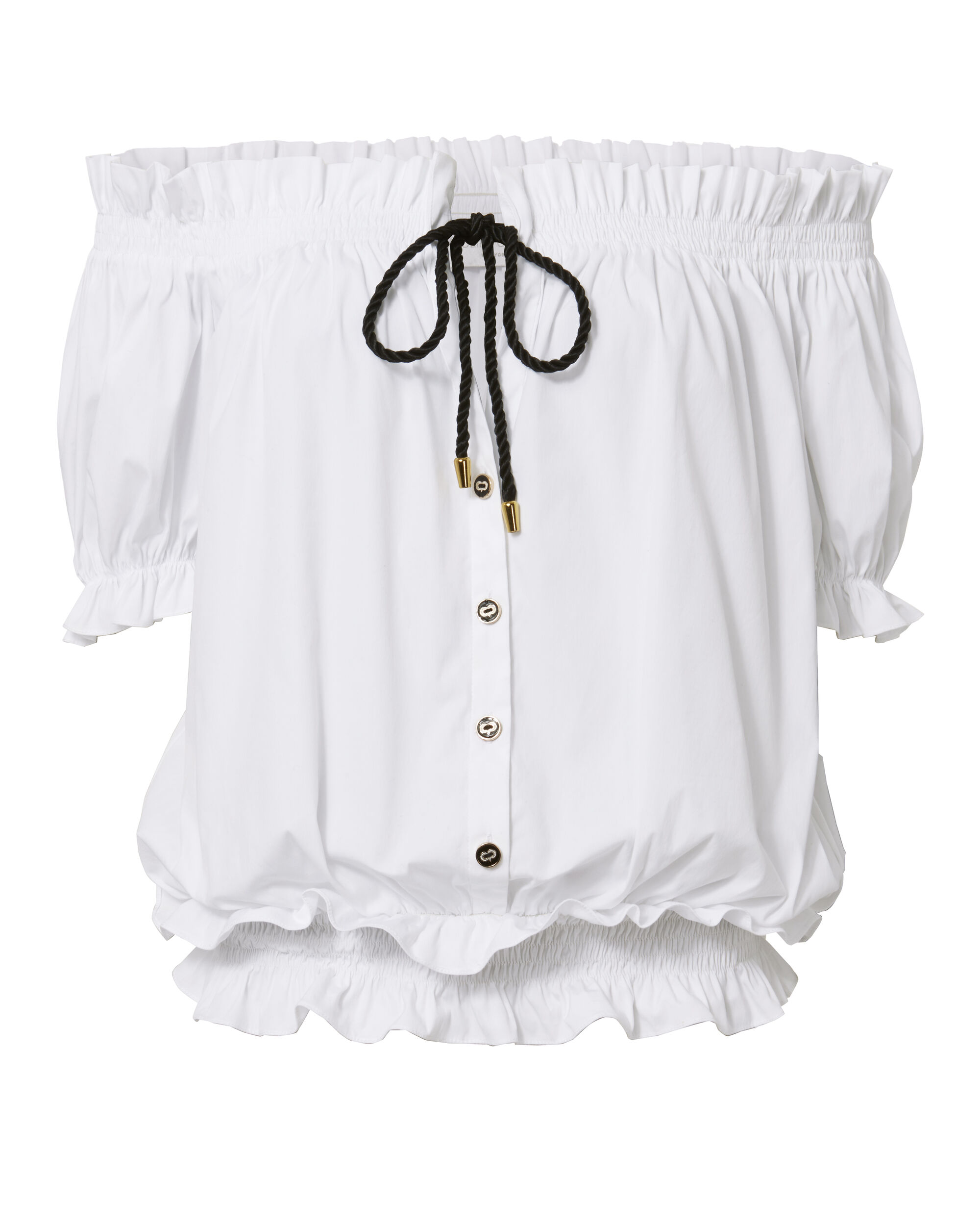 Peasant Short Sleeve Button Top, WHITE, hi-res