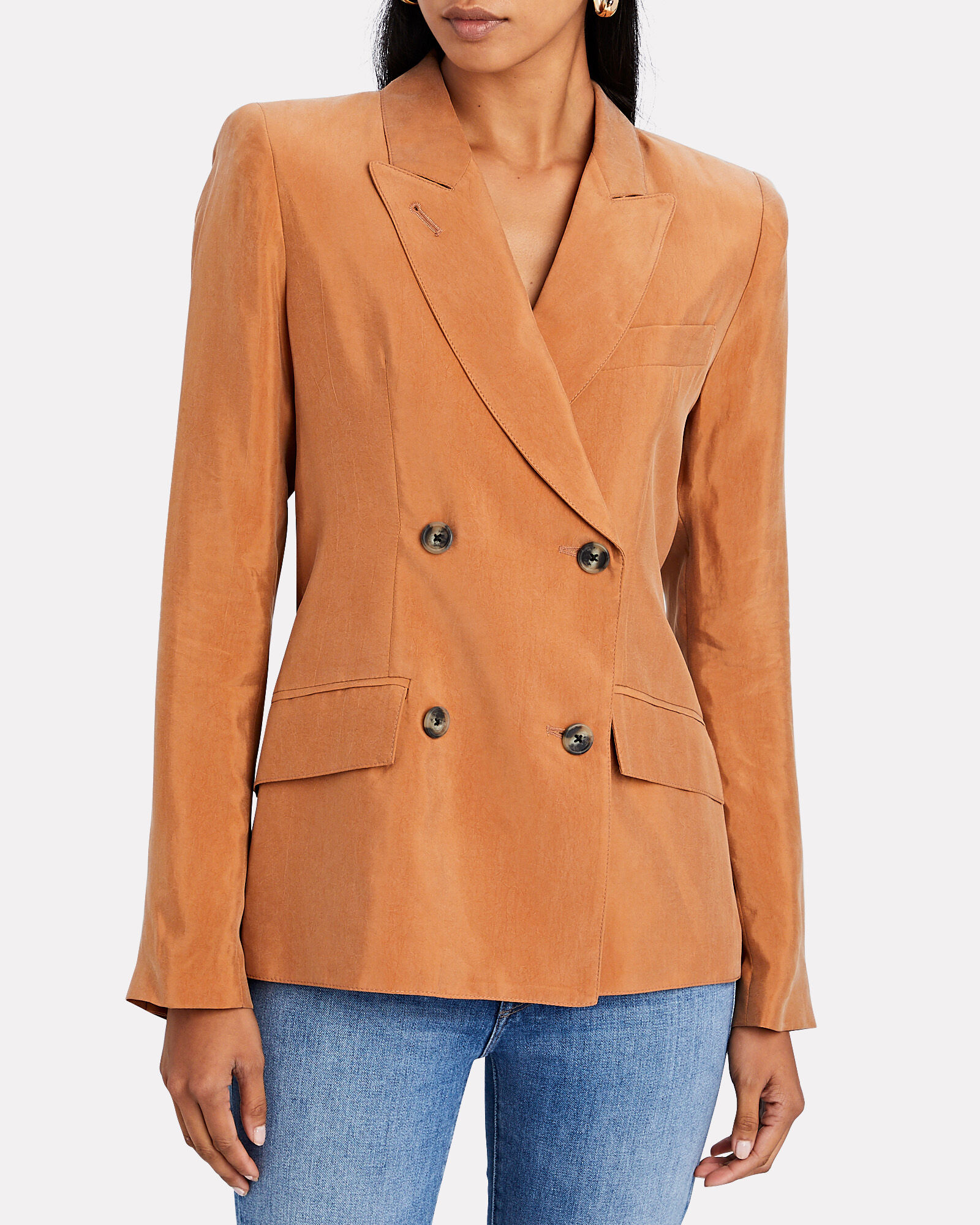Double-Breasted Tuck-In Blazer, BEIGE, hi-res