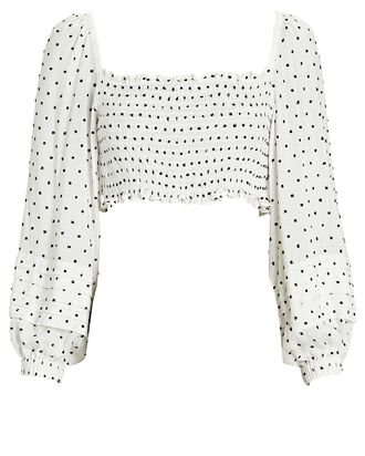 Remy Polka Dot Crop Top, WHITE/BLACK, hi-res