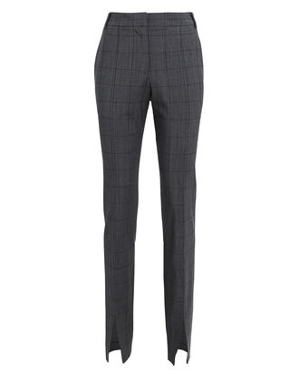 Wool-Blend Windowpane Slim Trousers, GREY/CHECK, hi-res
