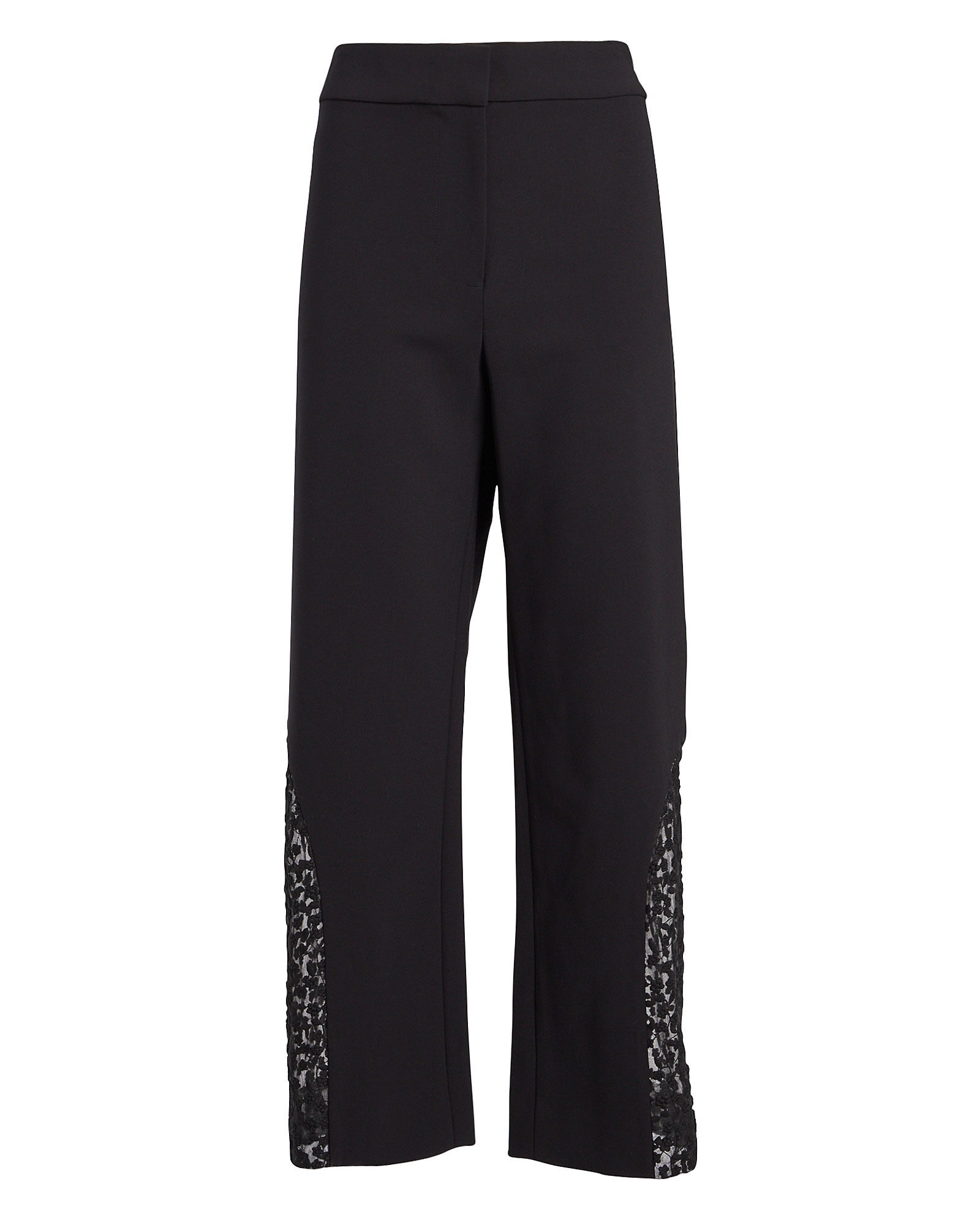 Novata Lace-Trimmed Cropped Pants, BLACK, hi-res