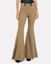 High-Rise Wool Flare Trousers, CAMEL, hi-res