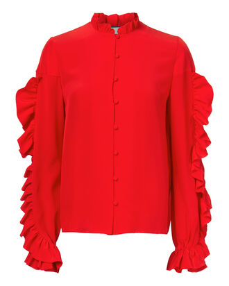Rocio Ruffle Back Top, RED, hi-res