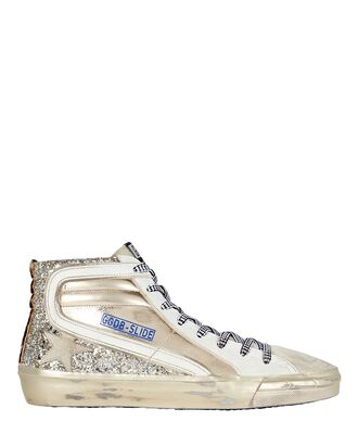 Slide Leather High-Top Sneakers, GOLD, hi-res