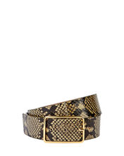 Milla Python Printed Leather Belt, GREEN, hi-res