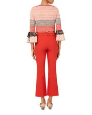 Red Crop Flare Pants, RED, hi-res