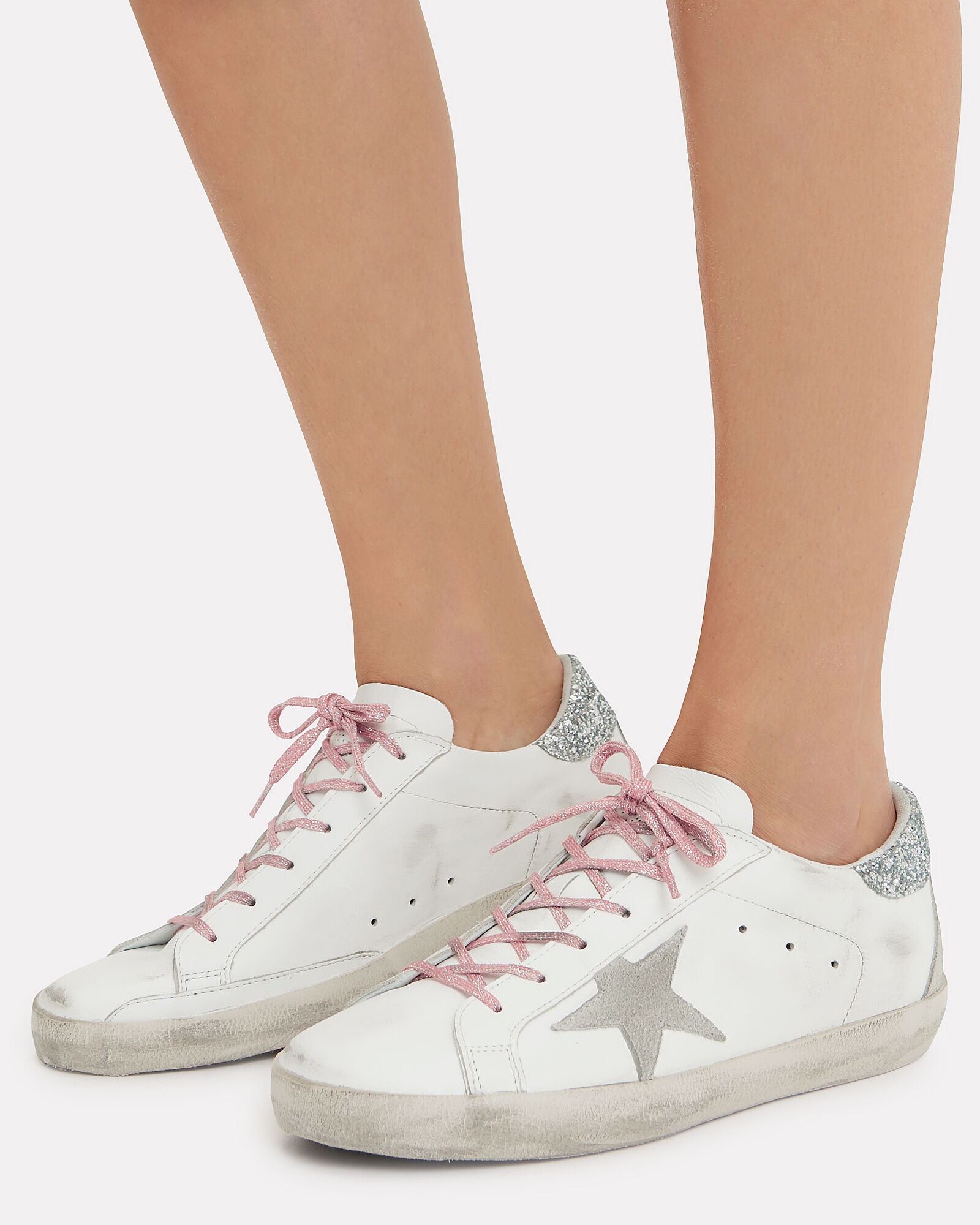 Superstar Pink Glitter Laces Low-Top