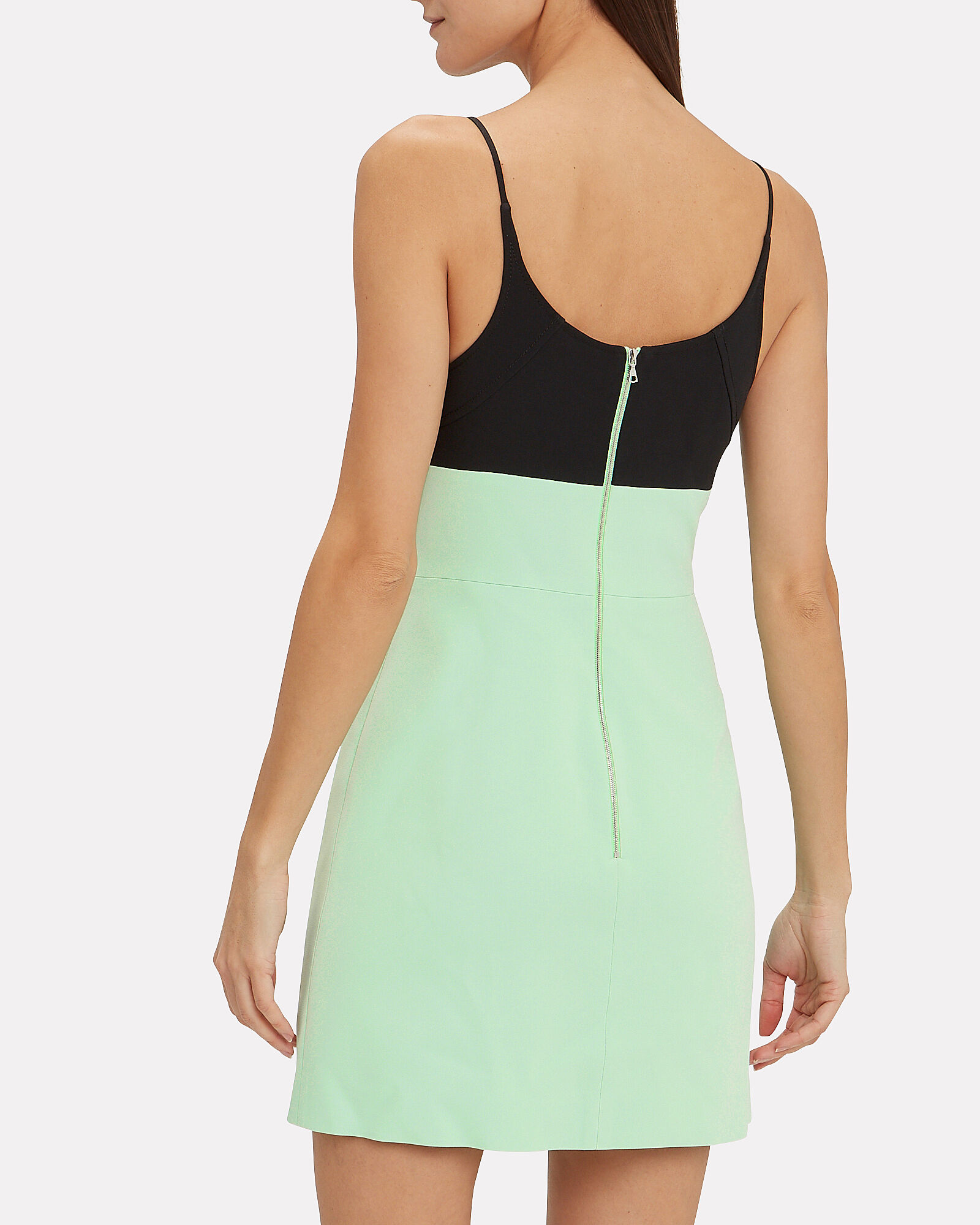 Contrast Bra Strappy Mini Dress, GREEN-LT, hi-res