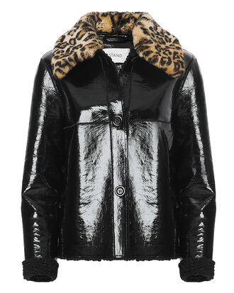 Josephine Faux Fur Collar Patent Coat, BLACK/LEOPARD, hi-res