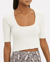 Ribbed Crop Top, WHITE, hi-res
