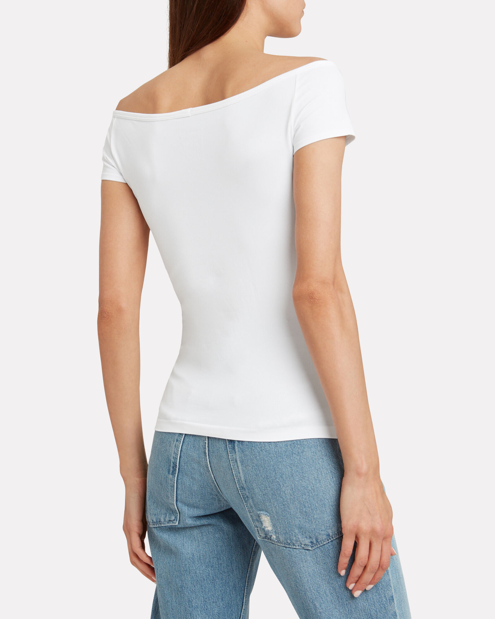Seamless Boat Neck Top, WHITE, hi-res