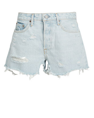 Helena Light Blue Distressed Shorts, LIGHT BLUE DENIM, hi-res