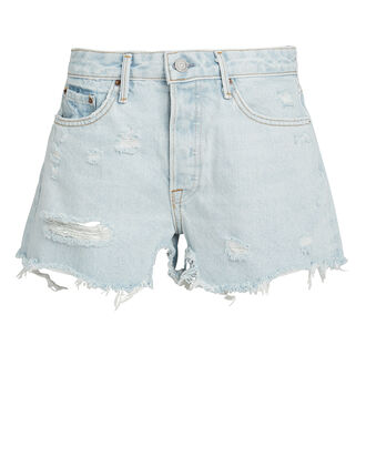 Helena Distressed Denim Shorts, LIGHT WASH DENIM, hi-res