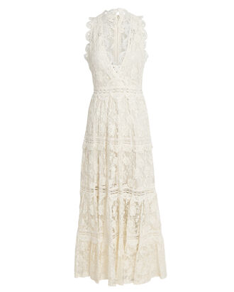 Havana Sleeveless Lace Midi Dress, IVORY, hi-res