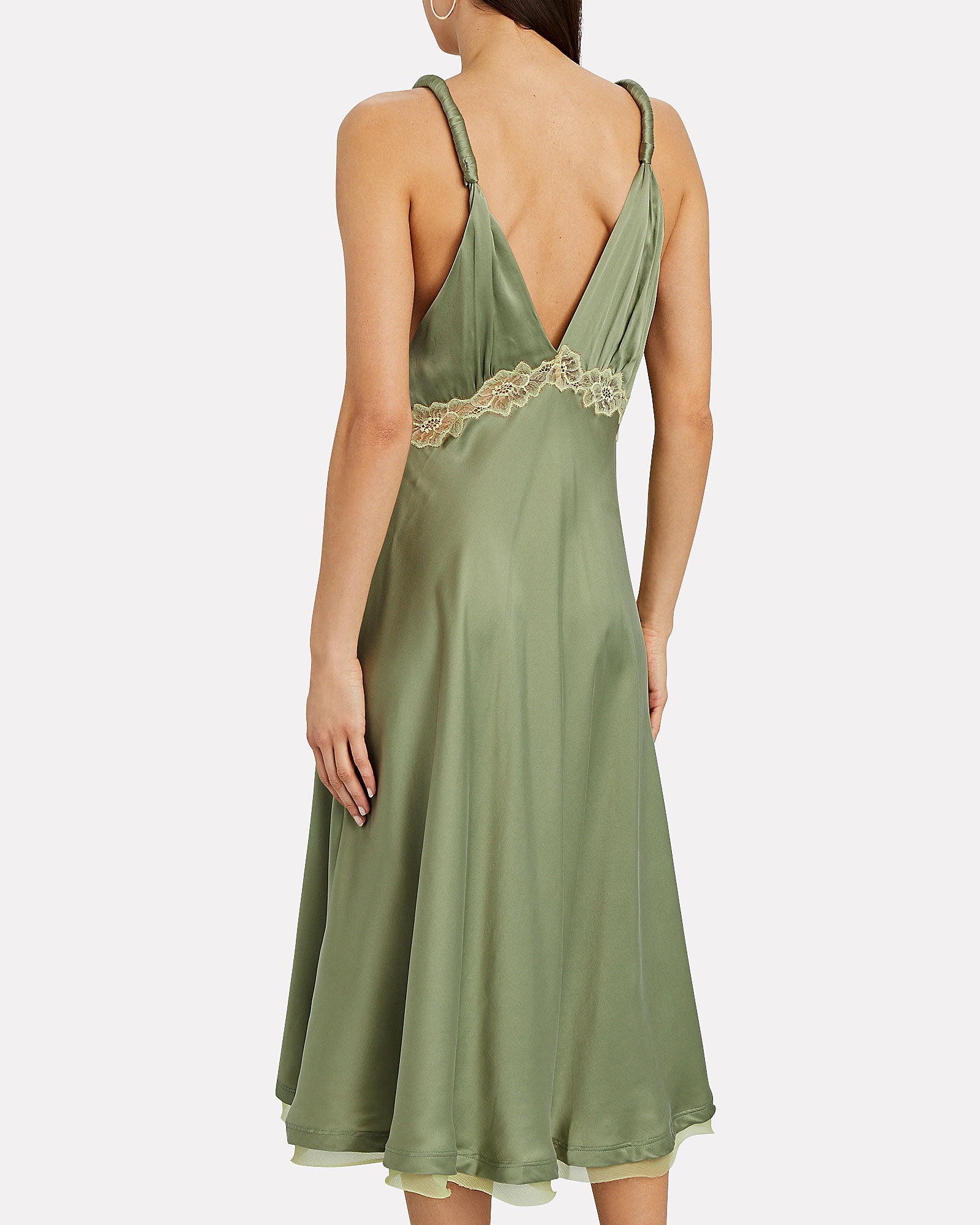 Kendra Lace-Trimmed Silk Dress, GREEN, hi-res