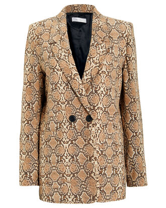 Madeline Python Double Breasted Blazer, BROWN/PYTHON, hi-res