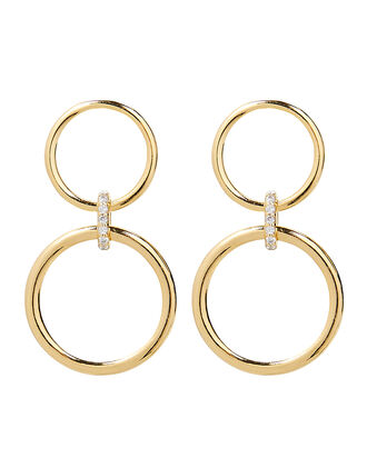 Double Circle Drop Earrings, GOLD, hi-res