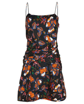 Floral Twist Waist Slip Dress, BLACK/FLORAL, hi-res