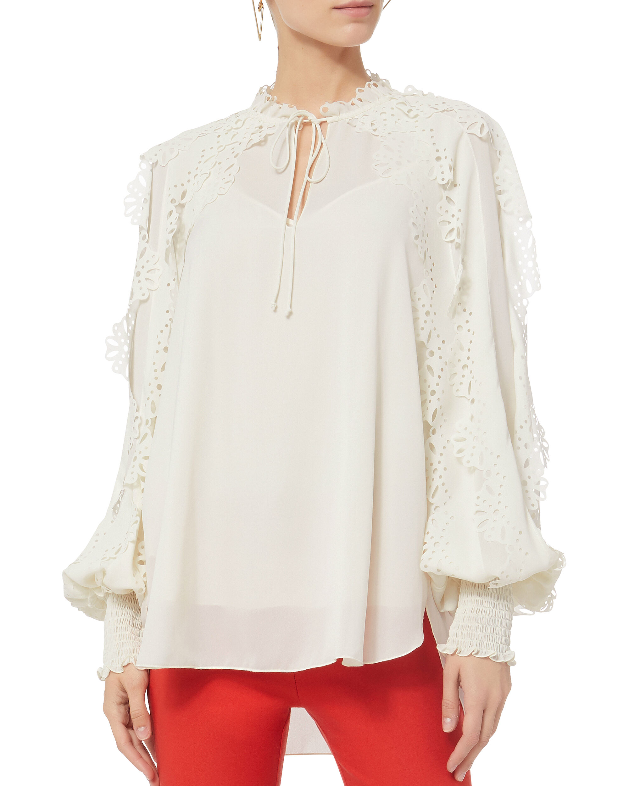 Floral Sleeve Top, WHITE, hi-res