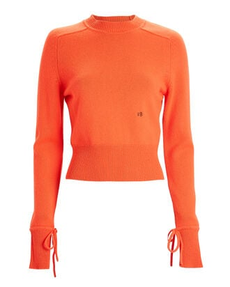 Cropped Cashmere Crewneck Sweater, ORANGE, hi-res