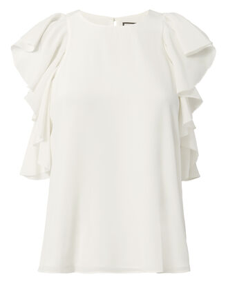 Lachlan Ruffle Silk Top, WHITE, hi-res