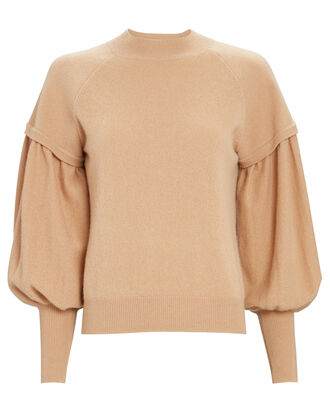 Mackenzie Bishop Sleeve Cashmere Sweater, BEIGE, hi-res