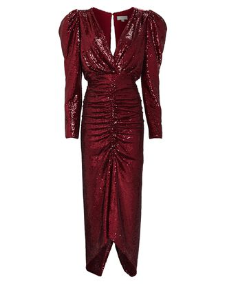 Astrid Ruched Sequin Dress, RED-DRK, hi-res