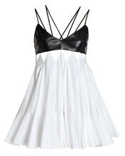 Leather-Trimmed Cotton Dress, BLACK/WHITE, hi-res