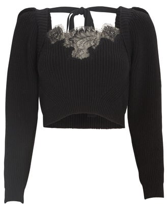 Lace-Trimmed Cropped Sweater, BLACK, hi-res