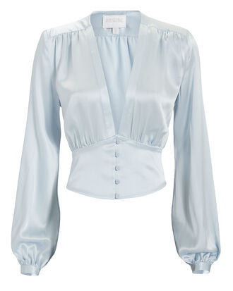 Deep-V Silk Blouse, BLUE-LT, hi-res