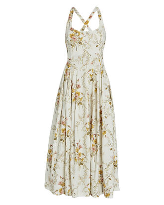 Floral Cotton Midi Dress, IVORY, hi-res