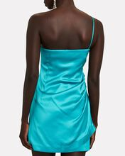Pasto One-Shoulder Satin Mini Dress, TURQUOISE, hi-res