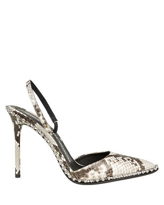 Rina Pointed Toe Slingback Pumps, BLACK/SNAKESKIN PRINT, hi-res