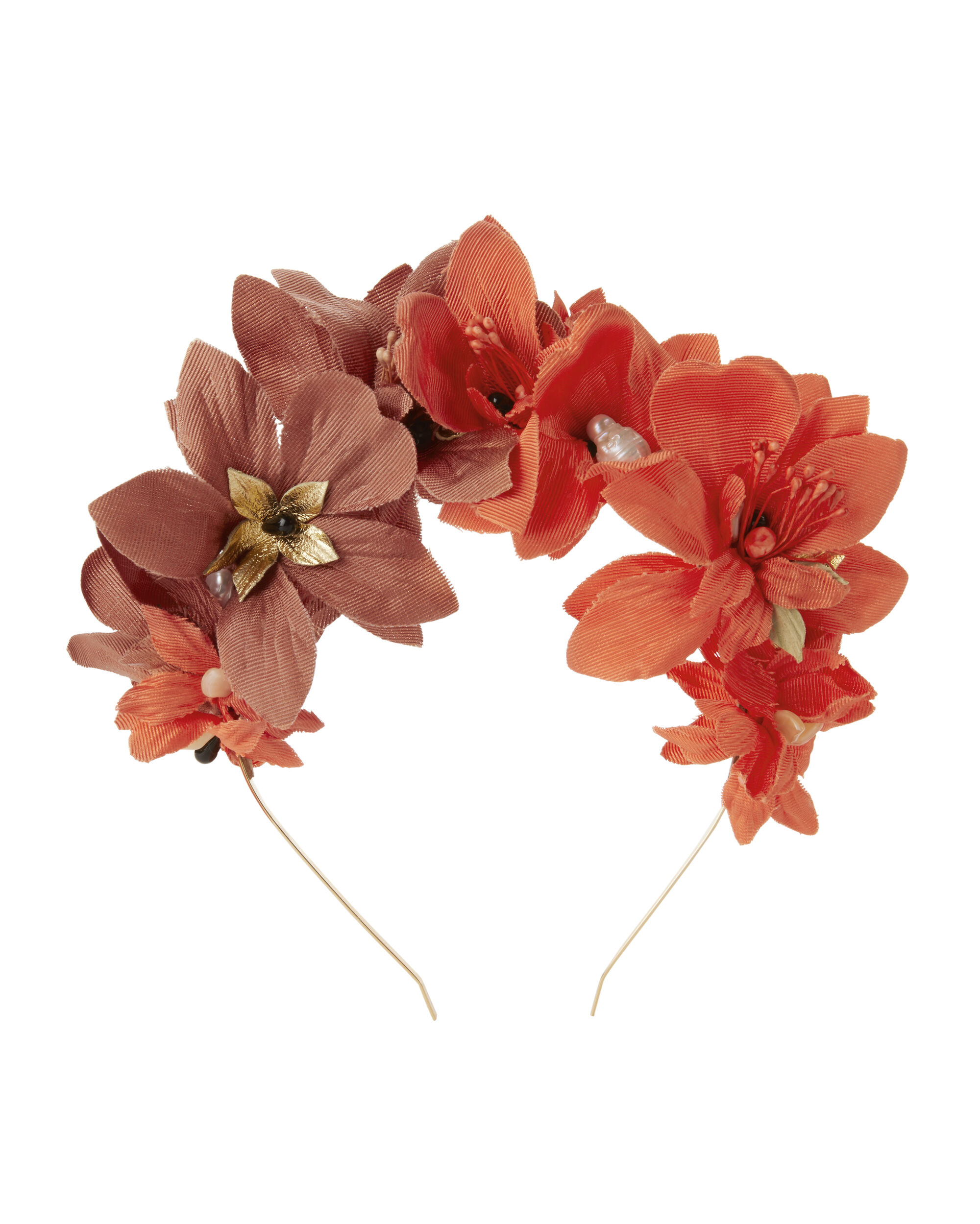 Red Floral Headband, RED, hi-res
