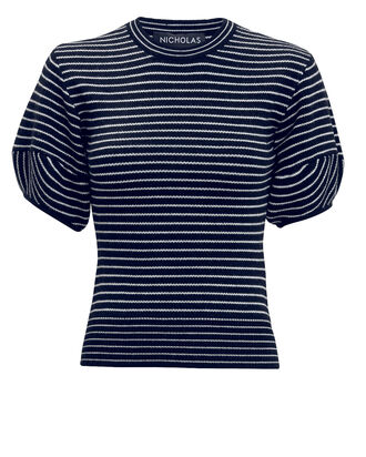 Stripe Puff Sleeve Top, NAVY, hi-res