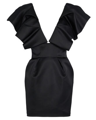 Ruffled Satin Mini Dress, BLACK, hi-res