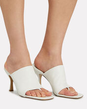 Leather Thong Slide Sandals, WHITE, hi-res
