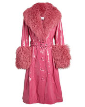 Foxy Shearling Patent Leather Glossy Coat, BRIGHT PINK, hi-res