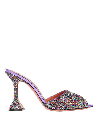 Tina Glitter Heeled Slides, RAINBOW, hi-res