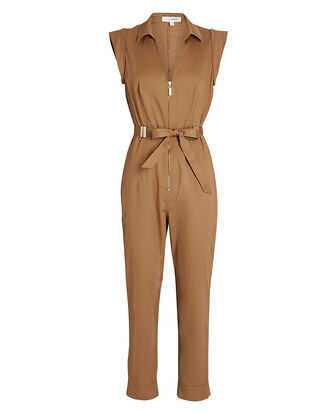 Ariel Belted Cotton Jumpsuit, BROWN, hi-res