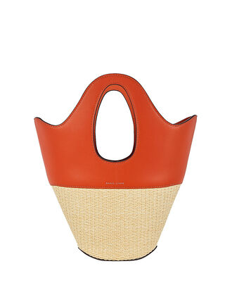 Small Leather-Trimmed Straw Tote, TOMATO/RICE, hi-res