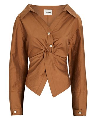 Idris Poplin Button-Front Shirt, LIGHT BROWN, hi-res