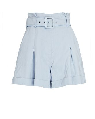 Lillian Belted Pleated Linen-Blend Shorts, LIGHT BLUE, hi-res